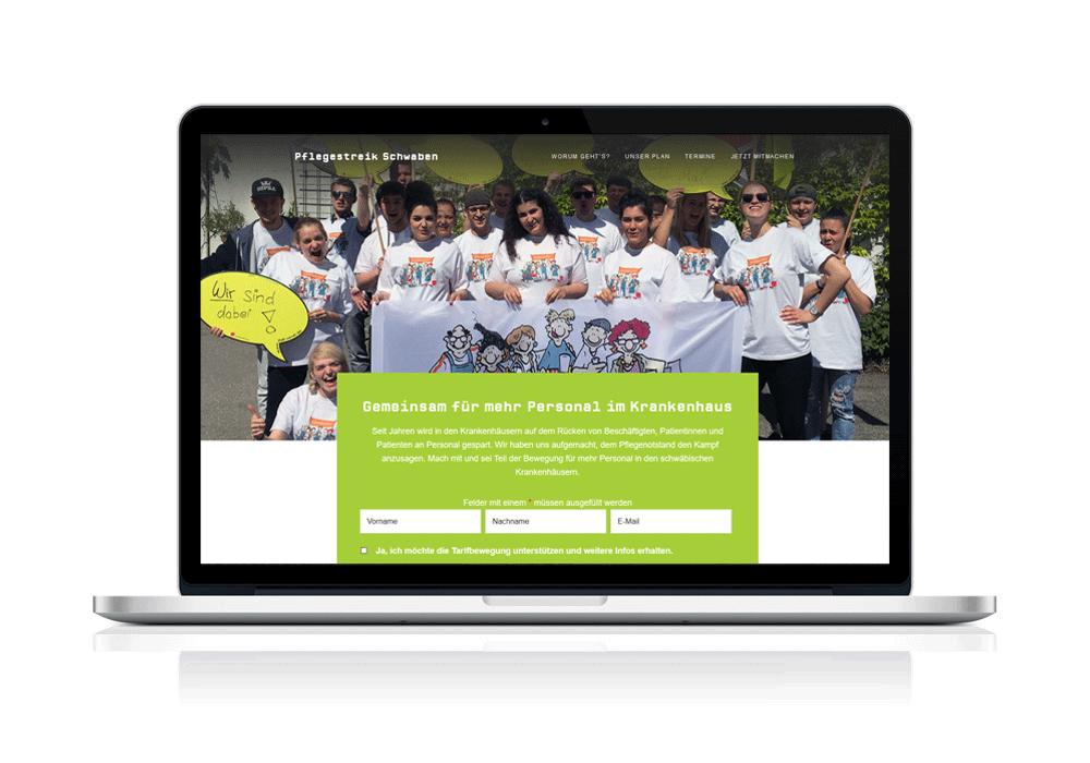 Webdesign von Pflegestreik-Schwaben für ver.di